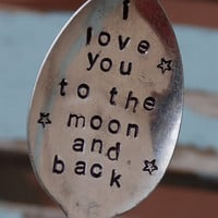 I Love You To The Moon and Back hand Stamped by VintageGardenArt
