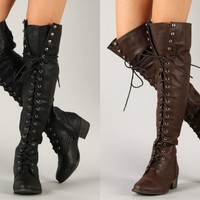 Breckelle's Alabama 12 Lace Up Military Combat Thigh High Boots