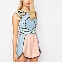 Alice McCall Playsuit with Cut Out Detail in Pastel Colours