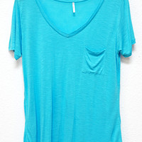 Perfectly Imperfect One-Pocket Shabby Tee, Aqua Blue