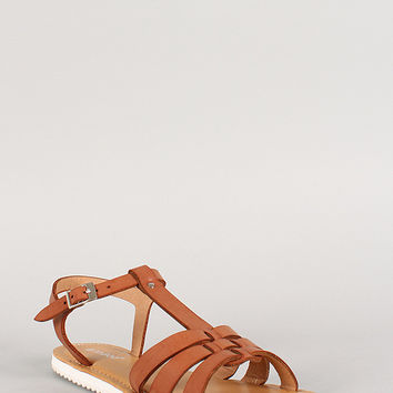 Bamboo Leatherette Strappy Lug Sole Open Toe Flat Sandal