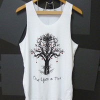 Whimsical Tree once upon a time screen printing White Unisex Women Men size M,L plus size White TANK TOP