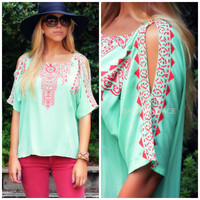 Rule The Day Mint Shoulder Cut Out Top