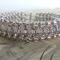 Pink Chainmaille Bracelet - Glass Caterpillar - Light Pink Beaded Bracelet - Light Pink Glass Bracelet