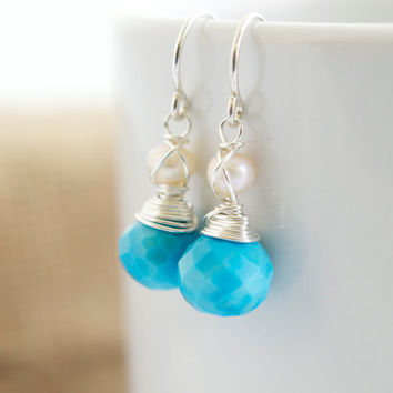 Turquoise and Pearl Dangle Earrings, Delicate Earrings, Turquoise Earrings, Gemstone Earrings, Mother's Day Gift