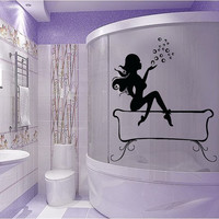 Nude Woman Wall Decals Girl Spa Bubbles Beauty Salon Bathroom Home Vinyl Decal Sticker Bath Art Mural Home Interior Design Decor KG795