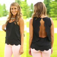Sweetly Scalloped Top in Black