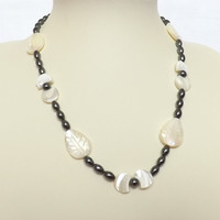 Hematite And Mother Of Pearl Necklace