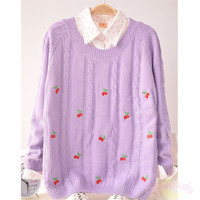 Autumn/Winter Cute Cherry Knitting Loose Sweater Jumper Top Free Ship SP141330 from SpreePicky