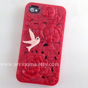 beautyful red flower Hard Case for Apple iPhone 4 Case, iPhone 4s Case, iPhone 4 Hard Case, iPhone Case, with a pink bird