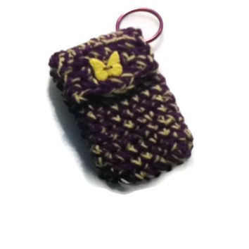 Purple and Yellow Keychain - Great workout pouch - Keep your money and lipstick on your keys