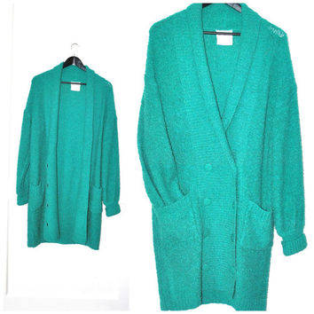 turquoise DUSTER cardigan vintage 1980s 80s LONG boucle slouchy relaxed fit emerald green nubby COCOON sweater os