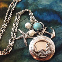 Silver Plated Mermaid Locket Necklace with Pearls and by agothshop