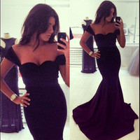 Black Sleeveless Prom Ball Cocktail Party Dress Formal Evening Gown SZ S - XL