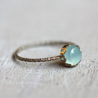 Blue chalcedony gemstone ring