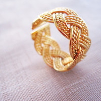 Telkari Gold Vermeil Sterling Silver Wire Wrapped Ring, Gift, Christmas