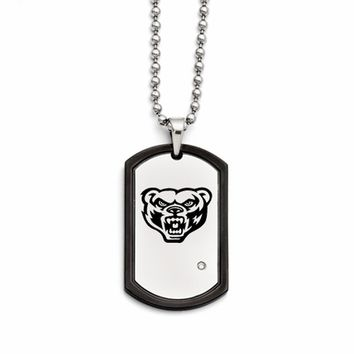 Oakland Golden Grizzlies Stainless Steel and CZ Dog Tag Necklace. Collegiate Jewelry