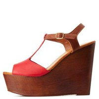 Red Bamboo Color Block T-Strap Wooden Wedges by Charlotte Russe