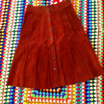 Vintage 60s 70s Mod Suede high waist skirt leather panel skirt snap front hippie boho free people Western coachella gypsy festival wear XS