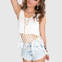 Take It From Here Fringe Crop Top - White