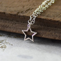 Tiny Star Necklace in Sterling Silver, Open Star Charm