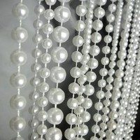 3 Ft X 6 Ft Ball Chain Beaded Curtain - Room Divider Pearl White