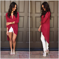 True Breeze Wrap Hi Low Blouse in Burgundy