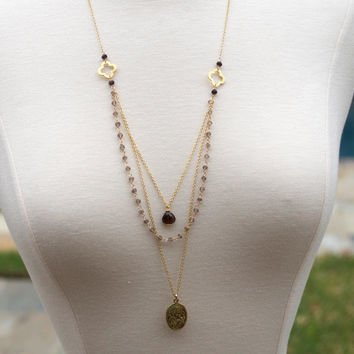 Long Necklace, Long Layered Necklace, Smokey Quartz Necklace, Multi Layered Necklace, Delicate Necklace