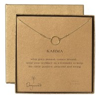 Women's Dogeared 'Reminder - Karma' Boxed Pendant Necklace - Gold Circle