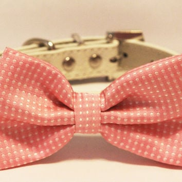 Pink Dog Bow Tie with high quality white leather collar, , Cute Dog Bowtie, Wedding Dog Collar