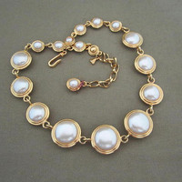 Chunky Reversible Liz Claiborne Necklace Vintage Statement Gold Metal Pearl Cabochon