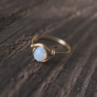 Solitaire Opalite Ring - prom rings  0% factory - 100% handmade!