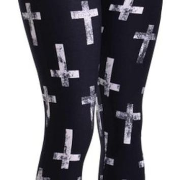 D.Top Antique Cross PRINT BRUSHED LEGGINGS