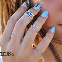 Silver Ring Set -  Cute Stacking Rings - Silver Ring - Knuckle Rings -  Midi Rings - Set of 4 Stackable Rings by TinyBox12