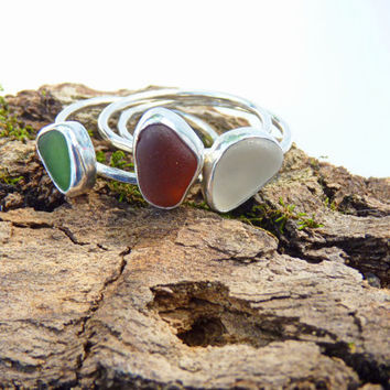 set of 3 sea glass stacking rings - sterling silver stacking rings - Baker Beach sea glass ring - San Francisco, California - size 8.5