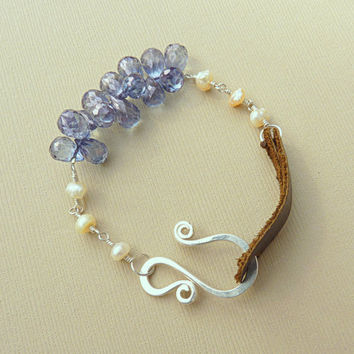 leather and pearl bracelet - sterling silver and blue quartz - rustic bracelet - handmade artisan jewelry - beach jewelry