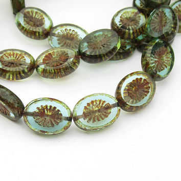 Czech Glass Beads 14x10 Chunky Carved Oval Blue Picasso