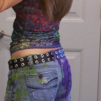 Jean Shorts Women's size 7/8  purple / lime Dyed Studded Frayed