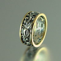 ANASTASIA ornate band in sterling silver and 14K by WingedLion