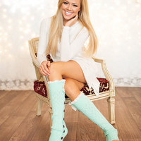 BLACK FRIDAY Cozy and Lacy MINT Button Up Leg Warmers