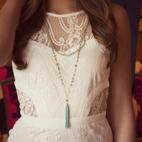 A Tassel In Time Peach And Turquoise Tassel Necklaces
