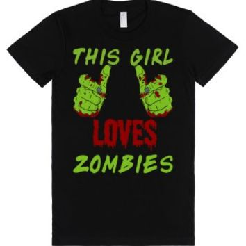 This Girl Loves Zombies T Shirt-Unisex Black T-Shirt