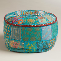 Small Turquoise Pouf