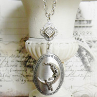 Silver Locket, Silver Locket Necklace, Moon Necklace, Solid Perfume Necklace, Locket Necklace