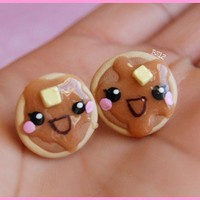 Happy Maple Drizzled Pancake Studs by bitterSWEET12 on Etsy