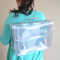 Clear plastic backpack satchel (Handmade to order)