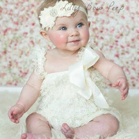 Baby Girl Clothes-Ivory Lace Petti Romper SET-Baby Girl Outfit-Preemie-Newborn-Infant-Child-Toddler-Easter Dress Up-Baptism-Wedding-Vintage