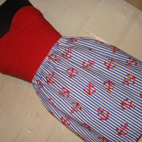 Anchors Away Skirt -  High Waisted Mini- Handmade - Ready to Ship - Blue & White Striped with Red Anchors