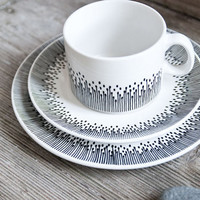 """Unique wedding gift: Hand-painted cup, saucer and plate as a set """"somewhat angular"""""""