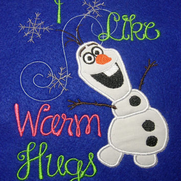 Olaf I Like Warm Hugs Girls Applique Bodysuit or Shirt